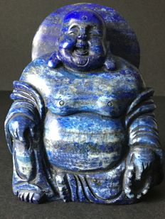 Natural lapis lazuli laughing Buddha sculpture - China - 21st century