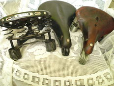 Vintage - three large bicycle saddles - Primus Leppert - Made in Holland