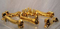 Rare complete set of 12 golden ceramic knife holders with fine gold, roosters, rabbits & sphinx