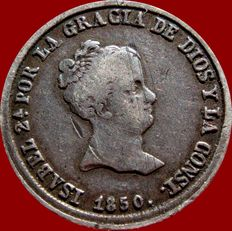 Spain - Isabel II (1833 - 1868), 2 silver real coins – Seville – 1850