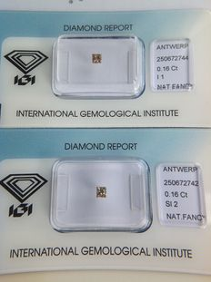 0.32 ct 2 x Princess cut natural fancy brown diamonds