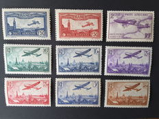 France 1930/1936 - Airmail stamps - Yvert PA no. 5 to 13