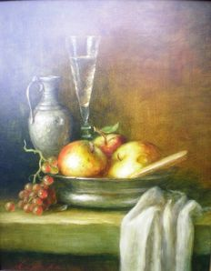 Ad de Roo (1959-) – Still life with tin can, glass and fruit