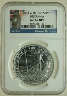 United Kingdom  – 2 Pounds 2014 'Britannia' 1 oz silver in Slab
