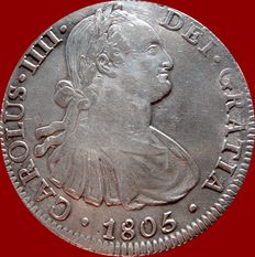 Spain – Carlos IV (1788-1808) – 8 reales silver coin – 1805 – Mexico