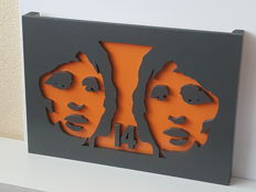 Johan Cruijff (RIP) - single released unique handmade wooden 2-dimensional work of art - 60x42 cm