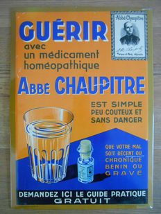 Rare metal advertising sign of 'Abbé Chaupitre' from 1936