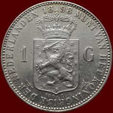 The Netherlands – 1 guilder 1898 Wilhelmina – Silver