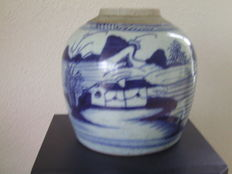 Ginger jar with decorations of landscape, fishers, and boats - China - 19th century