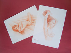 Original works; Lot of 2 drawings by Daniel Cayuela – 2017