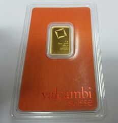 Gold bar, 5 gr, Valcambi Suisse with certificate