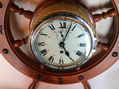 SMITHS Empire ship's clock mounted on heavy steering wheel.