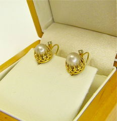 """Authetic Napoleon III French """" crown set natural freshwater pearl """" antique dormeuses earrings 18kt gold - NO RESERVE"""