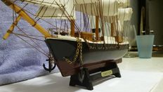 Vintage sailboat, accurate sailboat 18th century replica of authentic high-quality Finnish birch wood.