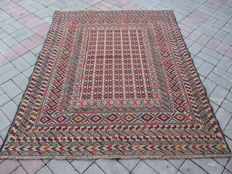 2833 # STUNNING SUPER QUALITY HAND MADE NEEDLE WORK SUMAK WOOL KILIM 140 x 175 CM