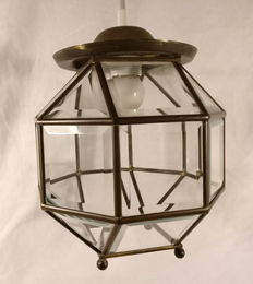 Copper hall lamp with facet cut glass diamonds, from the 30s - the Netherlands.