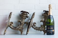 A pair of wooden appliques - baroque style - Italy - ca. 1800