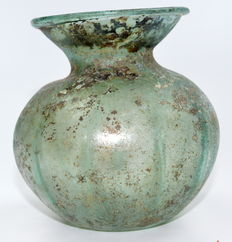 Ancient Roman Glass Collared Flask - 95 mm h.
