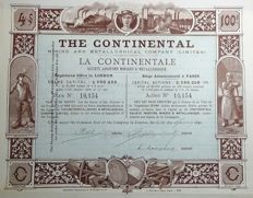 United Kingdom - The Continental Mining and Metallurgical Company - printed by Richard et Cie. in 1890.