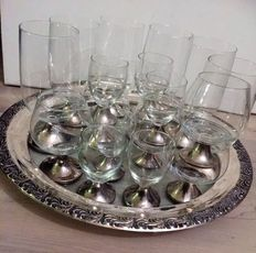Crystal glass with silver foot - 24 pieces