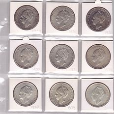 The Netherlands - 2 1/2 Guilders 1929/1943 (9 different coins) Wilhelmina - silver