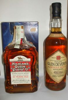 Highland Queen Grand 15 Year Old - 1960s  & Glen Deveron 1984 12 Year Old - 2 Bottles