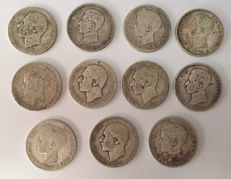 Spain – Alfonso XII and Alfonso XIII – eleven 1 Peseta silver coins 1883-1885-1899-1900-1903-1904