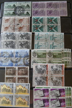 Italy, Republic – collection of cancelled stamps in blocks of four