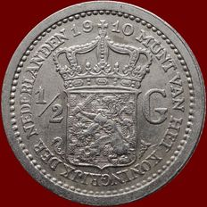 The Netherlands – ½ guilder 1910 Wilhelmina – silver