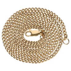 Yellow gold curb link necklace 14 kt - 51 cm