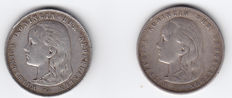 The Netherlands – 1 guilder 1892 and 1897 Wilhelmina – silver.