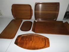 Including Bodafors, Realo and Silva Sweden - 6 plywood retro Swedish designer serving trays