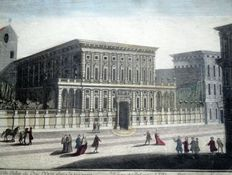 Vue d'optique - Perspective view - Genoa - Palazzo del Duca Doria - ITALY - 18th century