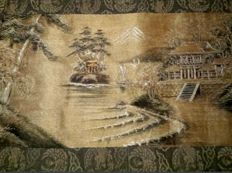 Silk embroidery with Japanese scene - first half of the 20th century