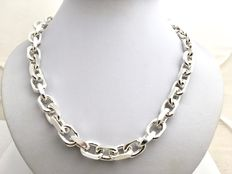 Silver (thick) heavy necklace with unique link