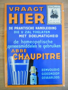 Rare metal advertising sign by 'Abbé Chaupitre' from 1936