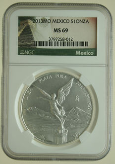 "Mexico – Onza 2013MO ""Winged Liberty"" 1 oz silver in slab"