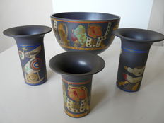 Four Rosenthal ceramic items, three vases and a bowl. Porlantier. 2nd half of the 20th century, Germany