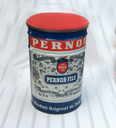 Very large sheet metal Pernod, oil barrel model, can be used as a stool