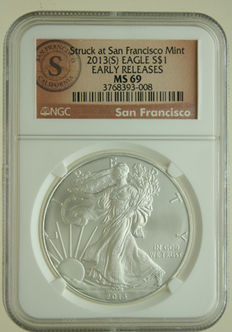 United States  – Dollar 2013S 'Silver Eagle' 1 oz silver in Slab