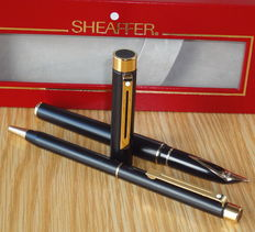 "Sheaffer Targa 1003 Matte Black GT & 14K Gold Nib ""M"" SET of Fountain Pen & Ballpoint Pen"