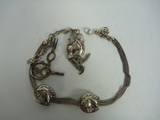 Silver chatelaine with horse heads, 19th century