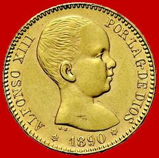 Spain – Alfonso XIII, 20 pesetas gold coin Madrid – 1890