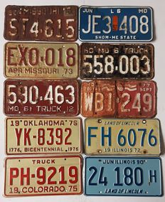Set of 10 American license plates