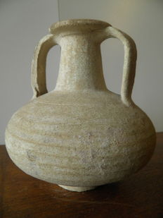 Roman jug with two handles made of white terracotta - Roman Period - 17 cm
