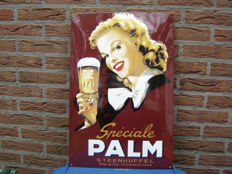 Beautiful large curved enamel sign for the Belgian Palm beer from Steenhuffel.