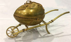 French gilded jewellery box  in the shape of a carriage