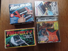 Lot of 4 boxed tabletops - ALIEN ATTACK - FIREFOX F-7 - SUPER COBRA - BASKETBALL DRIBBLE AWAY