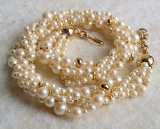 Beautiful Vintage 1980's MONET Gold Tone Faux Pearl Multi Strand Torsade Style Necklace
