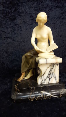 Reading nude - bronze and alabaster sculpture